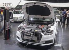 Suíça; Genebra; 8 de março de 2018; E-trone de Audi A3 com aberto Imagem de Stock