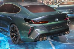 Suíça; Genebra; 8 de março de 2018; A estreia mundial do Gran Coupe do conceito de BMW - lado traseiro da esquerda; O 88th intern foto de stock