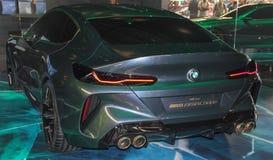 Suíça; Genebra; 8 de março de 2018; A estreia mundial do Gran Coupe do conceito de BMW - lado traseiro; A 88th exposição automóve imagem de stock royalty free