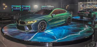 Suíça; Genebra; 10 de março de 2018; A estreia mundial do Gran Coupe do conceito de BMW; A 88th exposição automóvel internacional fotos de stock