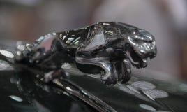 Suíça; Genebra; 9 de março de 2019; Ornamento da capa de Jaguar XK150S; A 89th exposição automóvel internacional em Genebra do 7a fotografia de stock