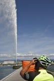 Suíça, Geneca o ` Eau do jato d, significando literalmente o ` do jato de água do ` imagens de stock