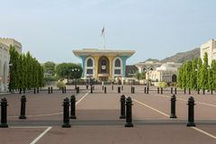 Sułtanu Qaboos pałac w muszkacie, Oman Blisko mattrah - Al Alam pałac zdjęcie royalty free