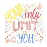 Su único límite es usted tarjeta que pone letras stock de ilustración