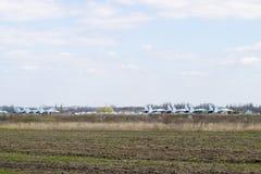 Su35在机场的战斗机 库存图片