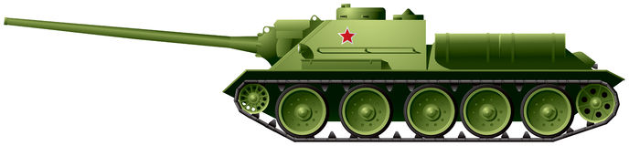 SU-100 tank destroyer. SU-100, the Soviet tank destroyer, based on famous Russian medium tank T-34, developed in 1944 as an improvement of the SU-85, took part Royalty Free Stock Photography