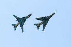 Su-22 Fitters. On the airshow, SIAF 2013 - Slovakia - Sliac royalty free stock photo