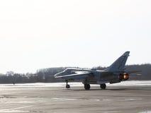 Su-24 Fencer on take off. Military jet bomber Su-24 Fencer on take off Stock Image