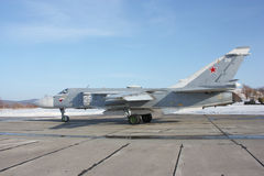 Su-24 Fencer on take off. Military jet bomber Su-24 Fencer on take off and landing royalty free stock photography