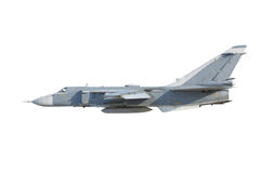 Su-24 Fencer on take off. Military jet bomber Su-24 Fencer on take off and landing royalty free stock photo