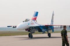 Su-27 from Russkie Vityazi taxis after landing Royalty Free Stock Images