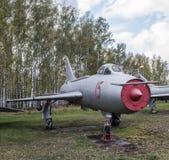 Su 7BKL罢工战斗机(1965),具体特点:轮子滑雪着陆 免版税库存图片