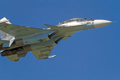Su-30  in the blue sky Royalty Free Stock Image