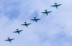 8 Su-25BM Frogfoot jet aircrafts with col Royalty Free Stock Photo