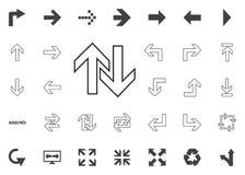 Su e giù l'icona delle frecce Icone dell'illustrazione della freccia messe immagini stock