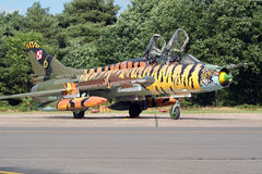 Su-22 Fitter. KLEINE BROGEL, BELGIUM - JULY 20: Polish Air Force Su-22 Fitter bomber with open canopy's Royalty Free Stock Photography