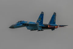 SU-27 Flanker. Ukrainian Air Force SU-27 Flanker jet participates in the Royal International Airshow, July 15, 2017 royalty free stock images
