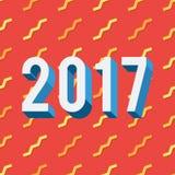 2017 su fondo rosso illustrazione di stock