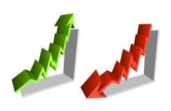 Su giù finanzi le frecce del diagramma Fotografie Stock Libere da Diritti
