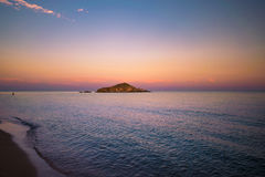 Su Giudeu island at sunset, Chia, Sardinia. Stock Image