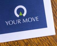 Su logotipo de los agentes de la propiedad inmobiliaria del movimiento foto de archivo