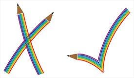 Marca de verificación en modelo del arco iris Imagen de archivo libre de regalías