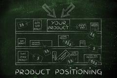 Su marca en estante de una tienda entre competidores, con el producto p del texto Imagenes de archivo