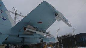 Su-27 med inställda missiler på VDNH royaltyfri foto