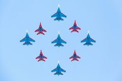 Su-27 and Mig-29 fighter aircraft piloted by members of the Russian Knights and Swifts Stock Photography