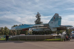 SU-27. Moscow, Russia - October 4, 2015: On the All-Russian exhibition center at the Space pavilion the Soviet SU-27 fighter developed last century in the USSR Royalty Free Stock Image