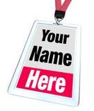 Su nombre aquí Badge a Lanyard Advertising Fotografía de archivo