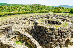 Su Nuraxi di Barumini in Sardinia, Italy. This historical place, dating from the seventeenth century BCE was included in the UNESCO list of World Heritage royalty free stock images