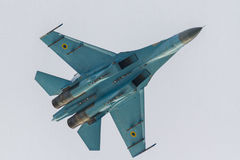 SU-27 performing at BIAS 2016. Bottom view of the SU-27 Stock Photo