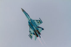 SU-27 performing at BIAS 2016. Highlighted AFTERBURNERS of the SU-27 Royalty Free Stock Photo