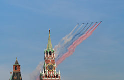 Su-25 planes paint Russian flag over Kremlin Royalty Free Stock Photography