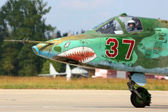 Su-25 37 RED taxiing at Kubinka air force base. KUBINKA, MOSCOW REGION, RUSSIA - AUGUST 7, 2014: Su-25 37 RED taxiing at Kubinka air force base Stock Photography