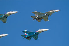 Su-30 and Su-27 in the blue sky Stock Photo
