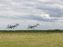 Su-30 taking off at an airshow Royalty Free Stock Photos