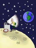 Su un altro pianeta con il calcolatore Immagini Stock