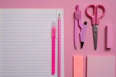 Su un fondo rosa, gli accessori della scuola e una penna, le matite colorate, un paio delle bussole, un paio delle bussole, lo sp Immagini Stock