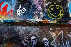 Su un graffito alto fotografia stock