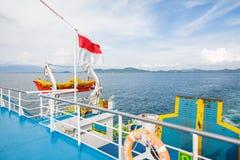 Su un grande traghetto in Bali Fotografia Stock Libera da Diritti