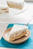 Su un pezzo di piatto del dolce di noce di cocco Fotografia Stock