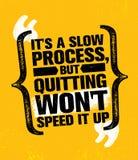 Su un proceso lento sino el abandono no lo acelerará Concepto del elemento del entrenamiento y del diseño del gimnasio de la apti stock de ilustración