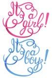 Su una muchacha, letras del muchacho Invitación del vector de la fiesta de bienvenida al bebé Fotografía de archivo