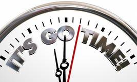 Su va el comienzo del tiempo comienza palabras que hacen tictac del reloj stock de ilustración