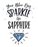 Sua faísca dos olhos azuis gosta da safira Fotografia de Stock Royalty Free