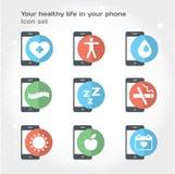 Sua vida saudável em seu telefone, ilustração Imagens de Stock