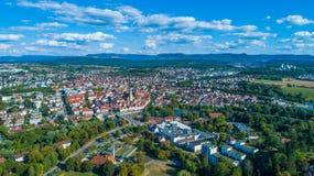 Suabian Alb στη Γερμανία με την πόλη Nuertingen Στοκ φωτογραφίες με δικαίωμα ελεύθερης χρήσης