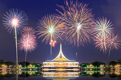 Suan Luang RAMA IX public park with fireworks. Bangkok Stock Photos